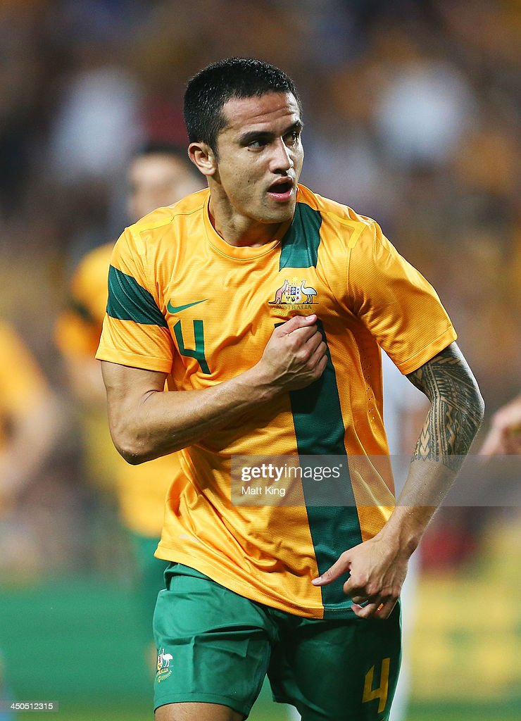 <a gi-track='captionPersonalityLinkClicked' href=/galleries/search?phrase=Tim+Cahill+-+Futbolista&family=editorial&specificpeople=209085 ng-click='$event.stopPropagation()'>Tim Cahill</a> of the Socceroos celebrates scoring the first goal during the international friendly match between the Australian Socceroos and Costa Rica at Allianz Stadium on November 19, 2013 in Sydney, Australia.