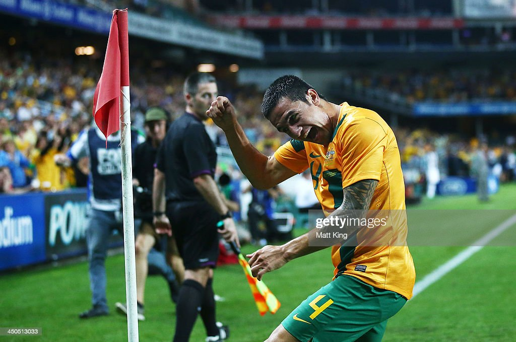 <a gi-track='captionPersonalityLinkClicked' href=/galleries/search?phrase=Tim+Cahill+-+Soccer+Player&family=editorial&specificpeople=209085 ng-click='$event.stopPropagation()'>Tim Cahill</a> of the Socceroos celebrates scoring the first goal during the international friendly match between the Australian Socceroos and Costa Rica at Allianz Stadium on November 19, 2013 in Sydney, Australia.