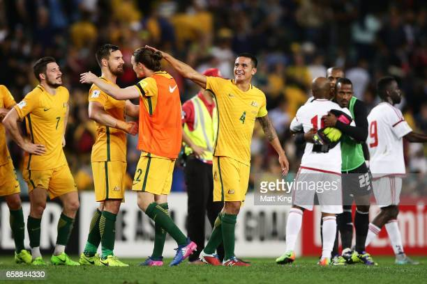 Tim Cahill of the Socceroos celebrates with Jackson Irvine of the Socceroos at fulltime during the 2018 FIFA World Cup Qualifier match between the...