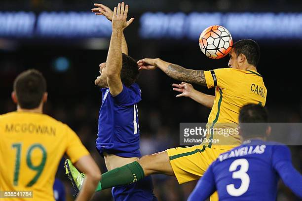 Tim Cahill of the Socceroos heads the ball during the International Friendly match between the Australian Socceroos and Greece at Etihad Stadium on...