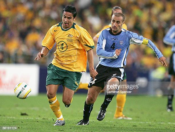 Tim Cahill of the Socceroos in action during the second leg of the 2006 FIFA World Cup qualifying match between Australia and Uruguay at Telstra...