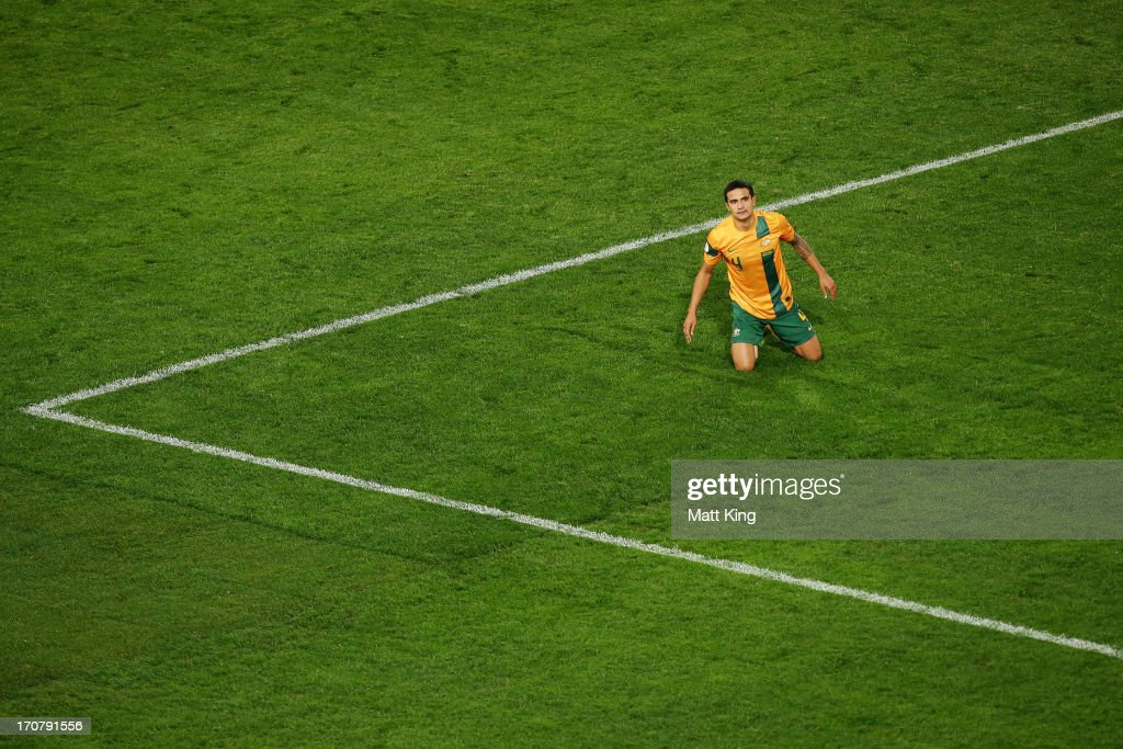 <a gi-track='captionPersonalityLinkClicked' href=/galleries/search?phrase=Tim+Cahill+-+Soccer+Player&family=editorial&specificpeople=209085 ng-click='$event.stopPropagation()'>Tim Cahill</a> of the Socceroos reacts after a missed shot on goal during the FIFA 2014 World Cup Asian Qualifier match between the Australian Socceroos and Iraq at ANZ Stadium on June 18, 2013 in Sydney, Australia.