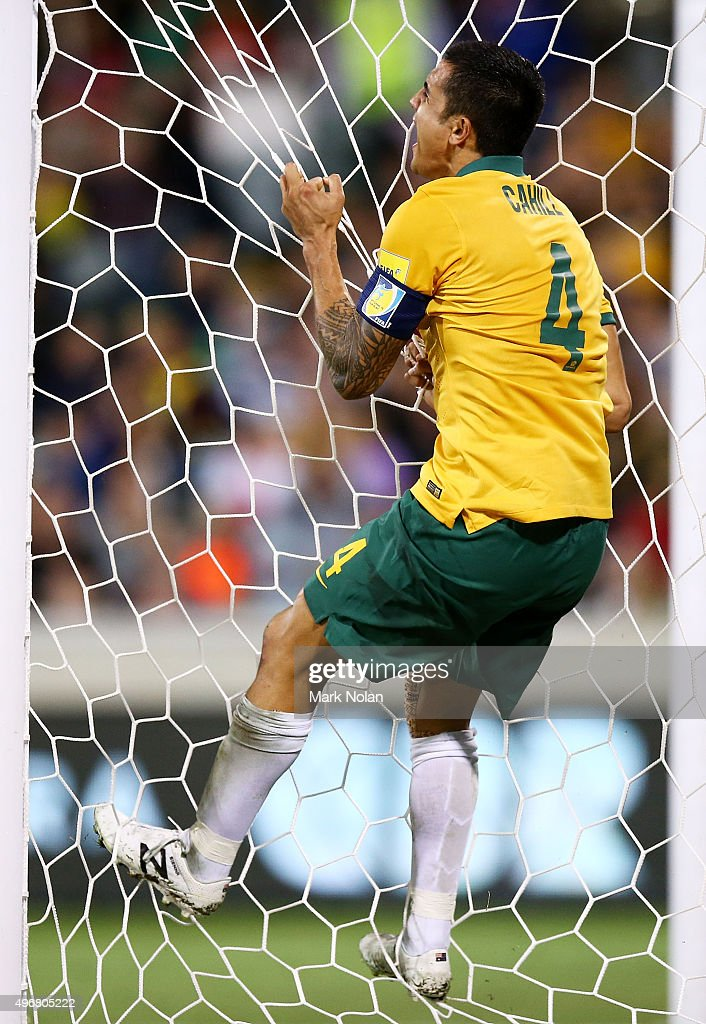 Tim Cahill of the Socceroos reacts after missing a shot on goal during the 2018 FIFA World Cup Qualification match between the Australian Socceroos and Kyrgyzstan at GIO Stadium on November 12, 2015 in Canberra, Australia.