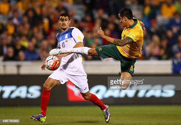 Tim Cahill of the Socceroos shoots for goal during the 2018 FIFA World Cup Qualification match between the Australian Socceroos and Kyrgyzstan at GIO...