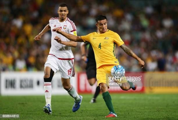Tim Cahill of the Socceroos takes a shot on goal during the 2018 FIFA World Cup Qualifier match between the Australian Socceroos and United Arab...