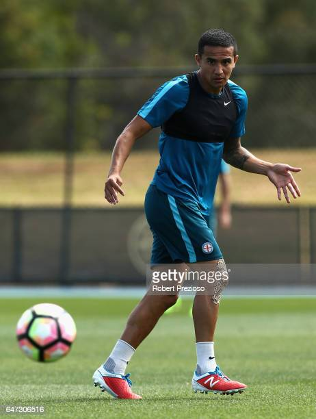 Tim Cahill passes the ball during a Melbourne City FC training session at City Football Academy on March 3 2017 in Melbourne Australia