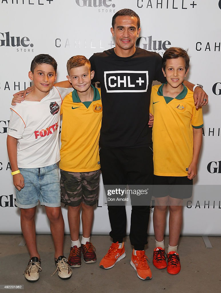 <a gi-track='captionPersonalityLinkClicked' href=/galleries/search?phrase=Tim+Cahill+-+Voetballer&family=editorial&specificpeople=209085 ng-click='$event.stopPropagation()'>Tim Cahill</a> poses alongside young fans during the launch of his Cahill+ clothing range on October 11, 2015 in Sydney, Australia.