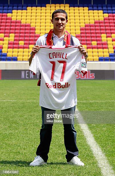 Tim Cahill poses for a photo prior to a press conference to announce the New York Red Bulls have signed Cahill as a designated player at Red Bull...