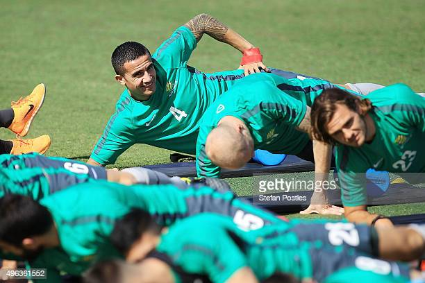 Tim Cahill stretches during a Australian Socceroos training session at GIO Stadium on November 9 2015 in Canberra Australia