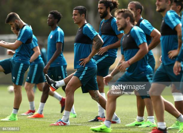 Tim Cahill stretches during a Melbourne City FC training session at City Football Academy on March 3 2017 in Melbourne Australia