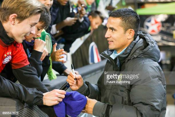Tim Cahill with fans post game after Brazil beat Australia in the Chevrolet Brasil Global Tour on June 13 2017 in Melbourne Australia Chris Putnam /...