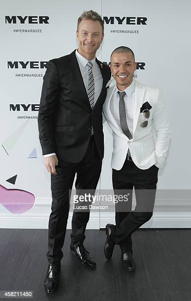 Tim Campbel and Anthony Callea at the Myer Marquee on Derby Day at Flemington Racecourse on November 1 2014 in Melbourne Australia
