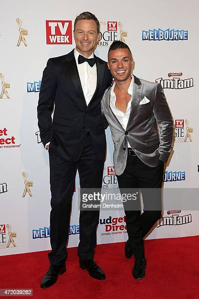 Tim Campbell and Anthony Callea arrive at the 57th Annual Logie Awards at Crown Palladium on May 3 2015 in Melbourne Australia