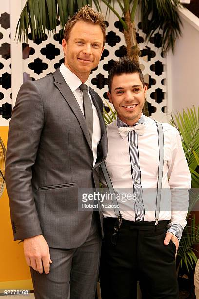 Tim Campbell and Anthony Callea pose at the Emirates Marquee during Crown Oaks Day as part of the 2009 Melbourne Cup Carnival at Flemington Race...