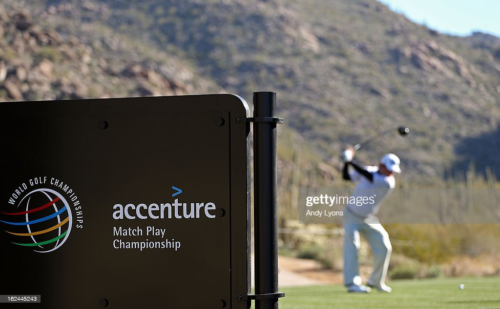 Tim Clark of Clark of South Africa hits his tee shot on the 15th hole during the third round of the World Golf Championships - Accenture Match Play at the Golf Club at Dove Mountain on February 23, 2013 in Marana, Arizona.