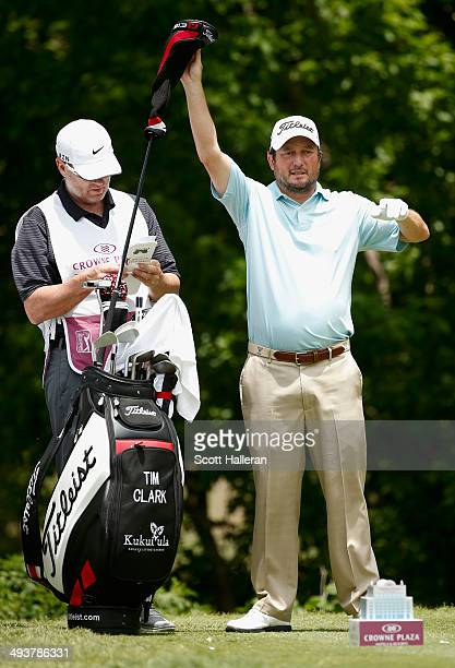 Tim Clark of South Africa prepares to tee off on the fourth hole during the Final Round of the Crowne Plaza Invitational at Colonial at the Colonial...