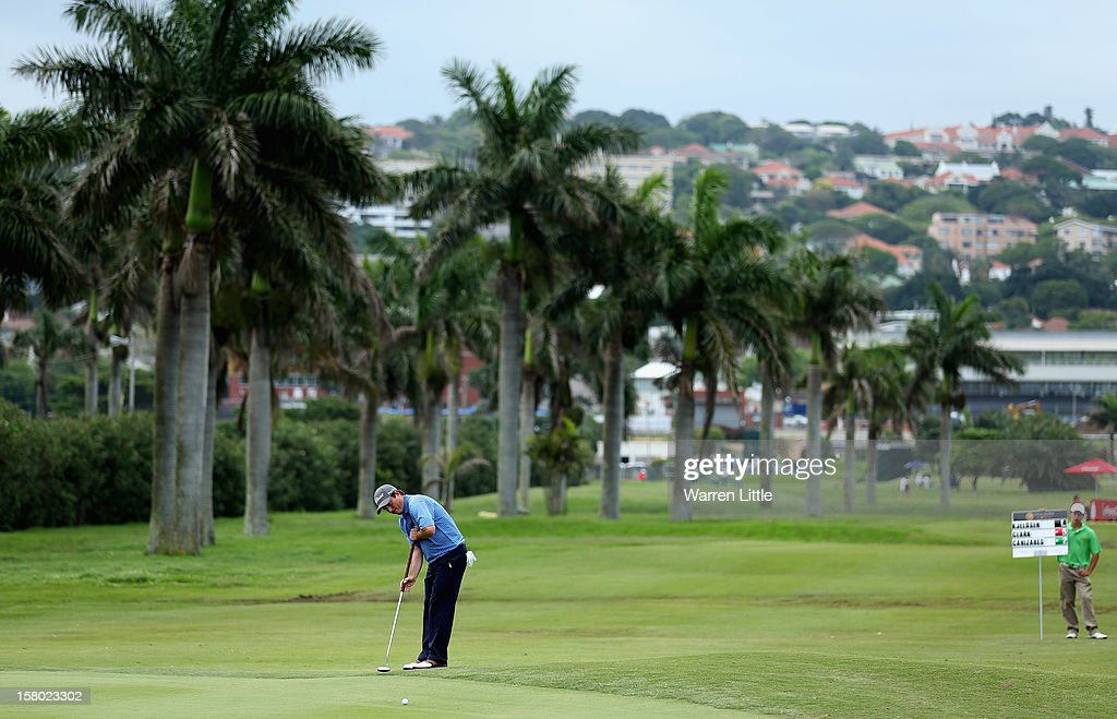 Tim Clark of South Africa putts on the seventh green during the second round of The Nelson Mandela Championship presented by ISPS Handa at Royal Durban Golf Club on December 9, 2012 in Durban, South Africa.