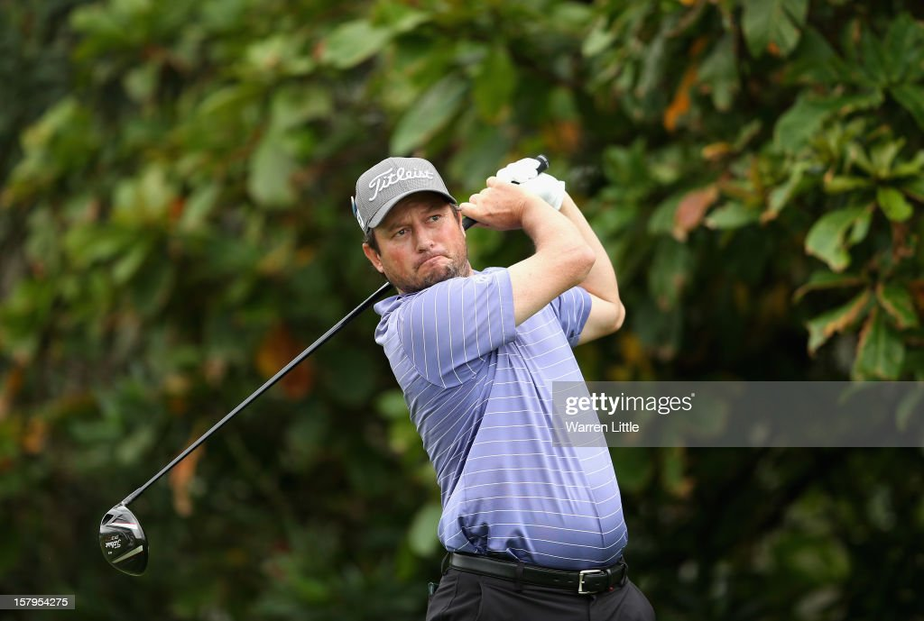 Tim Clark of South Africa tees off on the second hole during the first round of The Nelson Mandela Championship presented by ISPS Handa at Royal Durban Golf Club on December 8, 2012 in Durban, South Africa.
