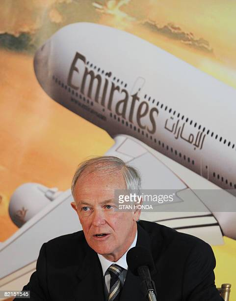 Tim Clark President of Emirates Airline speaks after arriving on a flight from Dubai August 1 2008 as Emirates becomes the first commercial Airbus...