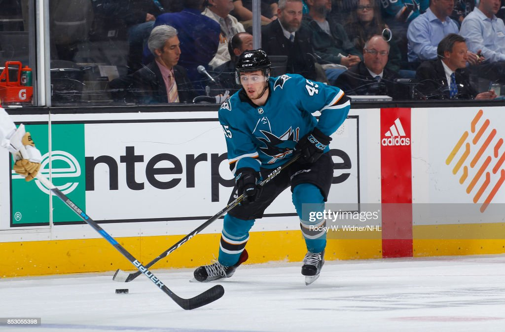 Tim Clifton #45 of the San Jose Sharks skates with the puck against the Vegas Golden Knights at SAP Center on September 21, 2017 in San Jose, California.