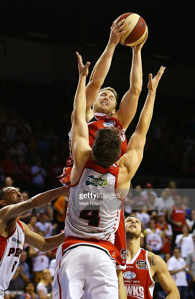 Tim Coenraad of the Hawks rebounds during game two of the NBL Semi Final series between the Wollongong Hawks and the Perth Wildcats at WIN Entertainment Centre on March 31, 2013 in Wollongong, Australia.