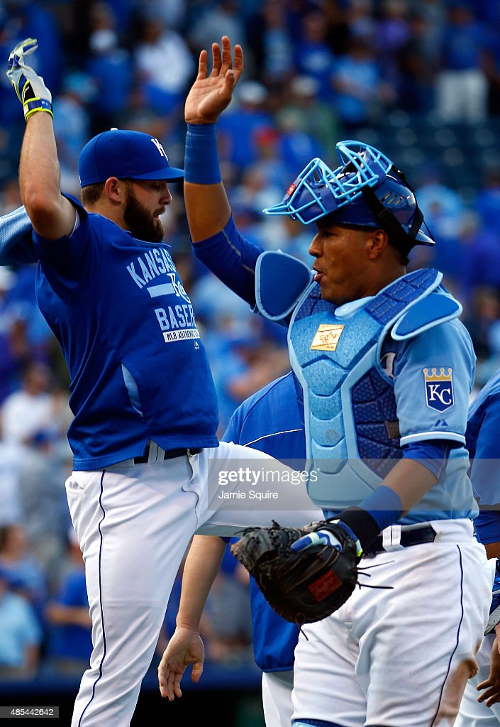<a gi-track='captionPersonalityLinkClicked' href=/galleries/search?phrase=Tim+Collins+-+Baseball&family=editorial&specificpeople=8616741 ng-click='$event.stopPropagation()'>Tim Collins</a> #55 and Salvador Perez #13 of the Kansas City Royals celebrate after the Royals defeated the Baltimore Orioles 5-3 to win the game at Kauffman Stadium on August 27, 2015 in Kansas City, Missouri.