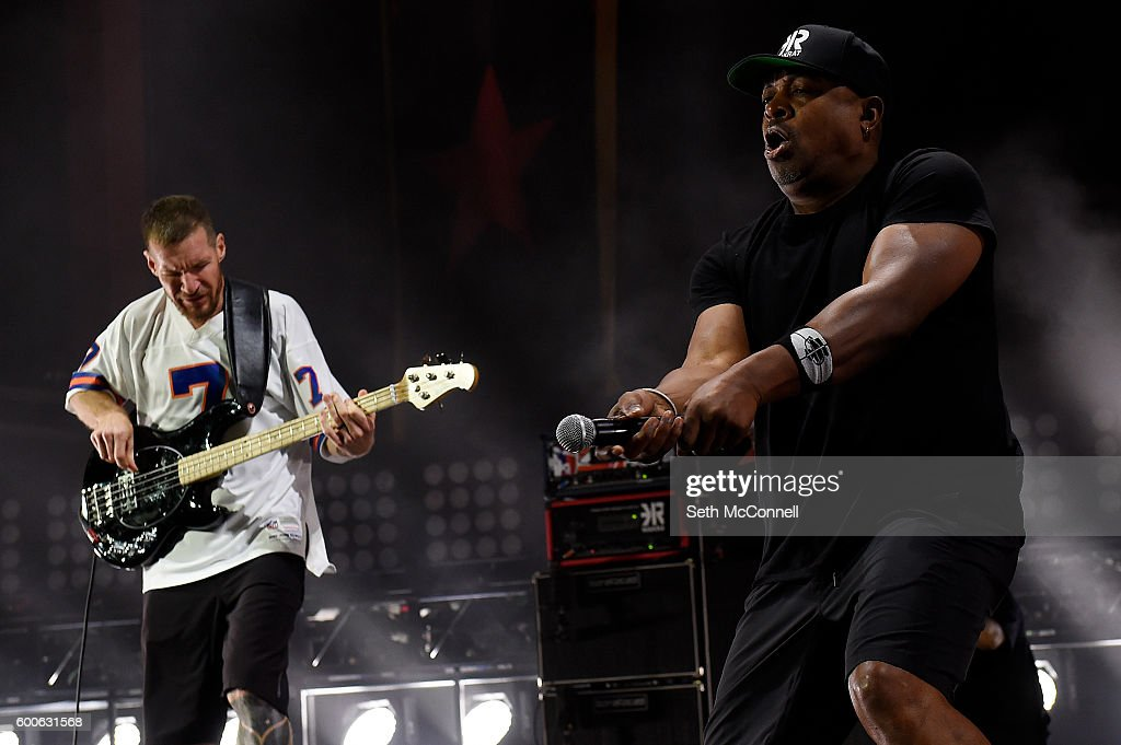 Tim Commerford and Chuck D of Prophets of Rage perform at Red Rocks Amphitheatre in Morrison, Colorado on September 7, 2016.