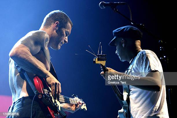 Tim Commerford and Tom Morello of Rage Against The Machine perform live at Gelredome on June 9 2010 in Arnhem Netherlands