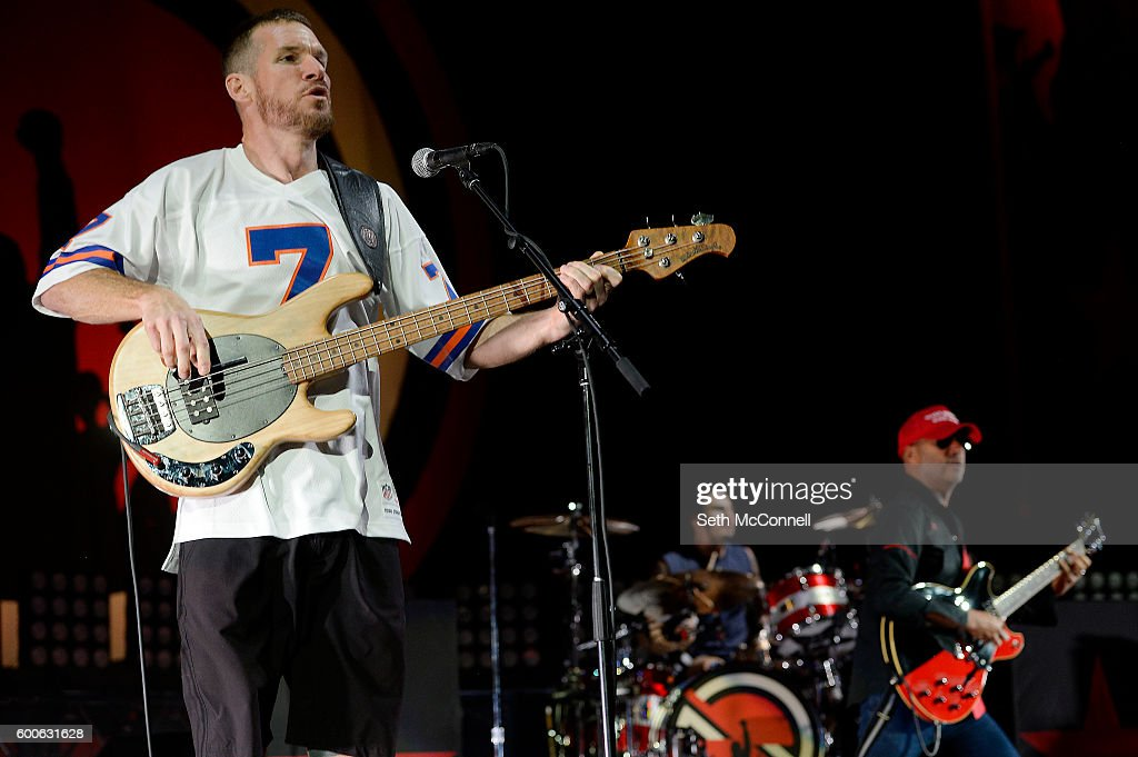 Tim Commerford, Brad Wilk and Tom Morello of Prophets of Rage perform at Red Rocks Amphitheatre in Morrison, Colorado on September 7, 2016.