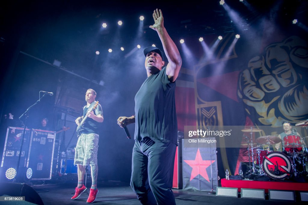 Tim Commerford of Rage Against The Machine, Chuck-D of Public Enemy and Brad Wilk of Rage Against The Machine perform as part of Prophets of Rage live on stage at the O2 Forum Kentish Town on November 13, 2017 in London, England.