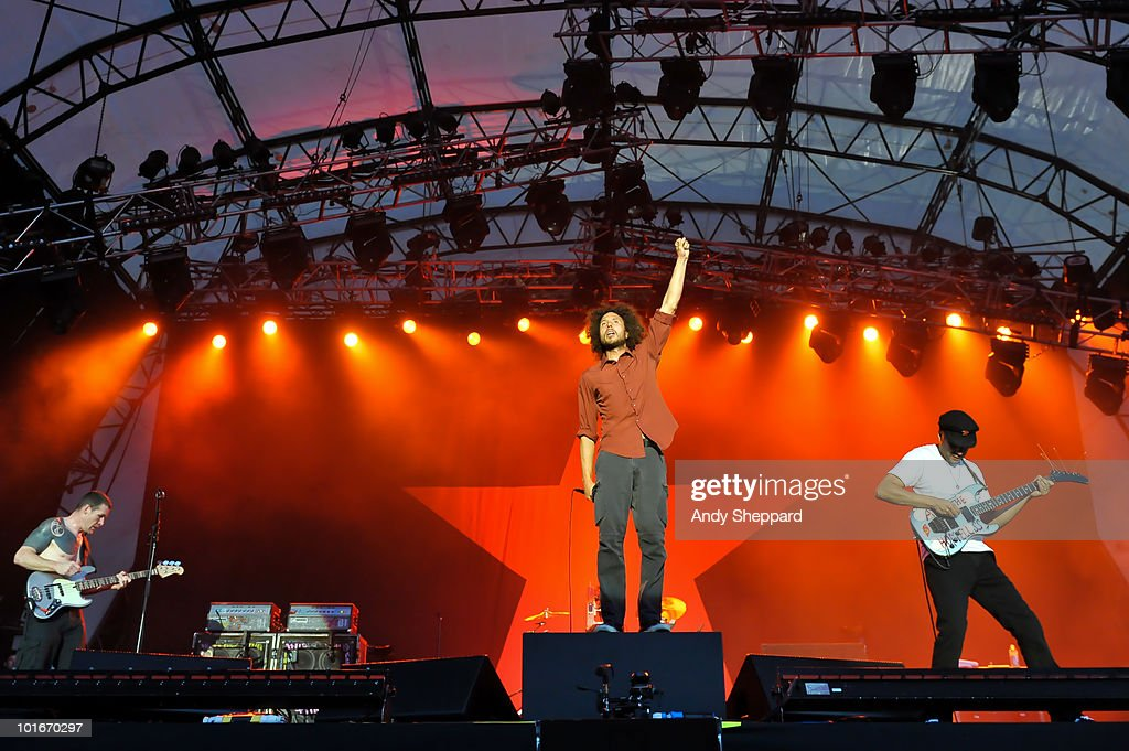 Tim Commerford, Zack De La Rocha and Tom Morello of American rap-rockers Rage Against The Machine perform a free concert at Finsbury Park on June 6, 2010 in London, England.