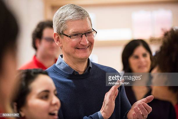 Tim Cook CEO of Apple visits an Apple store where third grade children from PS 57 James Weldon Johnson Leadership Academy are learning how to code...