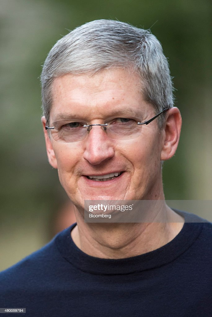 Tim Cook chief executive officer of Apple Inc arrives for a morning session during the Allen Co Media and Technology Conference in Sun Valley Idaho...