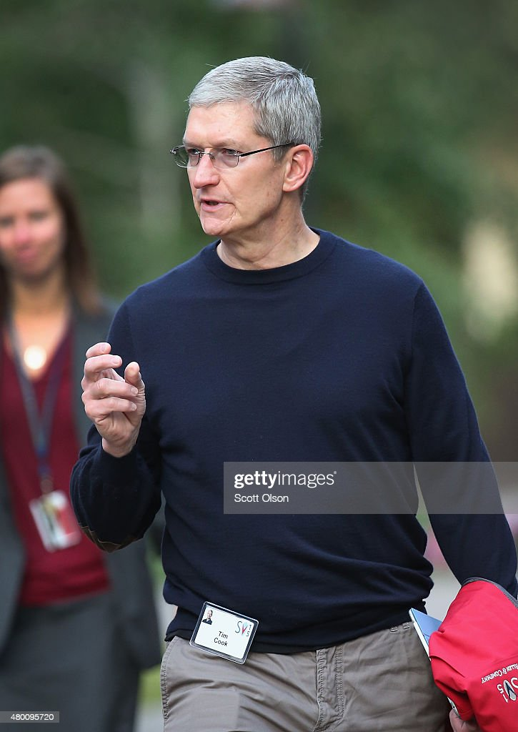 Tim Cook chief executive officer of Apple Inc attends the Allen Company Sun Valley Conference on July 9 2015 in Sun Valley Idaho Many of the worlds...
