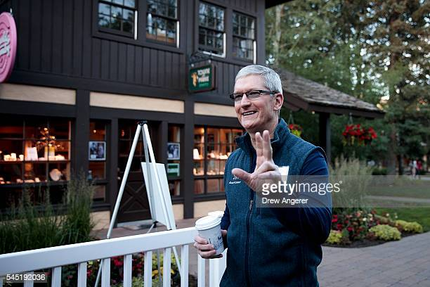 Tim Cook chief executive officer of Apple Inc attends the annual Allen Company Sun Valley Conference July 6 2016 in Sun Valley Idaho Every July some...