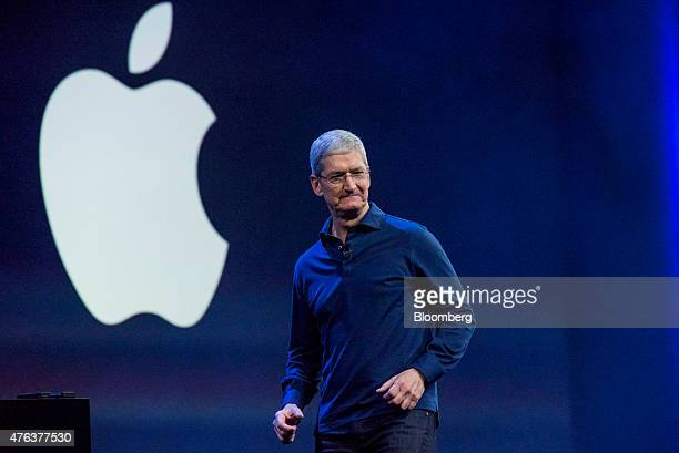 Tim Cook chief executive officer of Apple Inc exits the stage during the Apple World Wide Developers Conference in San Francisco California US on...