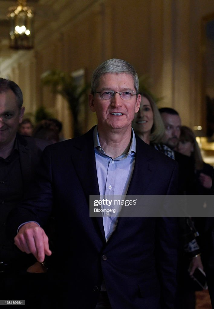 Tim Cook chief executive officer of Apple Inc gestures while arriving to speak at the Goldman Sachs Technology And Internet Conference in San...