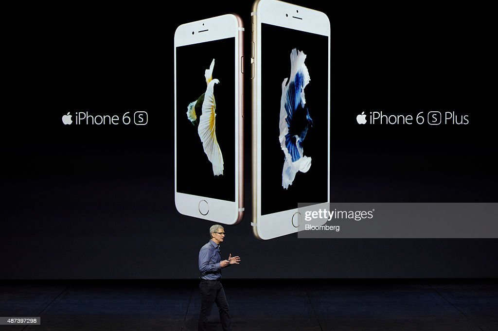 Tim Cook chief executive officer of Apple Inc introduces the Apple Inc iPhone 6s and 6s Plus during an Apple product announcement in San Francisco...