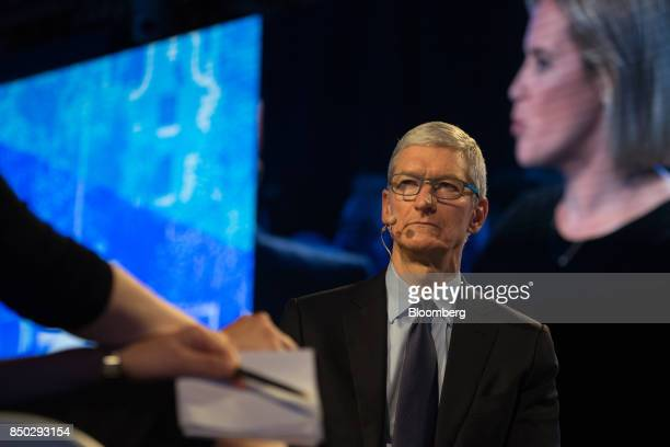 Tim Cook chief executive officer of Apple Inc listens during the Bloomberg Global Business Forum in New York US on Wednesday Sept 20 2017 The forum...