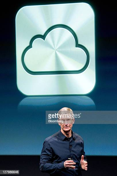 Tim Cook chief executive officer of Apple Inc speaks about new features of the iCloud service during an event at the company's headquarters in...