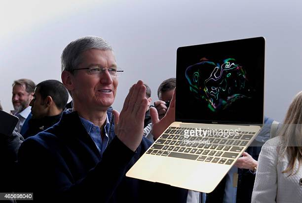 Tim Cook chief executive officer of Apple Inc speaks about the new gold edition Macbook laptop during the Apple Inc Spring Forward event in San...