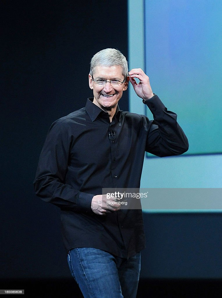<a gi-track='captionPersonalityLinkClicked' href=/galleries/search?phrase=Tim+Cook+-+Business+Executive&family=editorial&specificpeople=8084206 ng-click='$event.stopPropagation()'>Tim Cook</a>, chief executive officer of Apple Inc., speaks during a press event at the Yerba Buena Center in San Francisco, California, U.S., on Tuesday, Oct. 22, 2013. Apple Inc. introduced new iPads in time for holiday shoppers, as it battles to stay ahead of rivals in the increasingly crowded market for tablet computers. Photographer: Noah Berger/Bloomberg via Getty Images