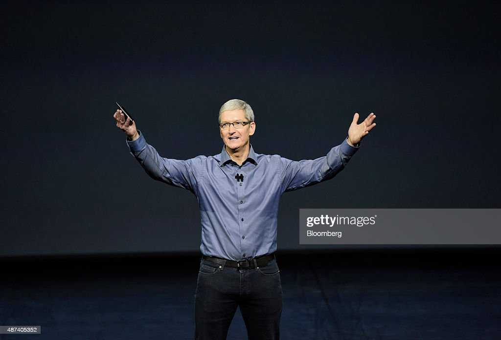 <a gi-track='captionPersonalityLinkClicked' href=/galleries/search?phrase=Tim+Cook+-+Business+Executive&family=editorial&specificpeople=8084206 ng-click='$event.stopPropagation()'>Tim Cook</a>, chief executive officer of Apple Inc., speaks during an Apple product announcement in San Francisco, California, U.S., on Wednesday, Sept. 9, 2015. Apple Inc. introduced a larger iPad with a 12.9-inch screen, designed to attract business users and jump-start demand for its tablets. Photographer: David Paul Morris/Bloomberg via Getty Images