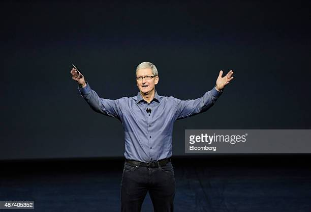 Tim Cook chief executive officer of Apple Inc speaks during an Apple product announcement in San Francisco California US on Wednesday Sept 9 2015...