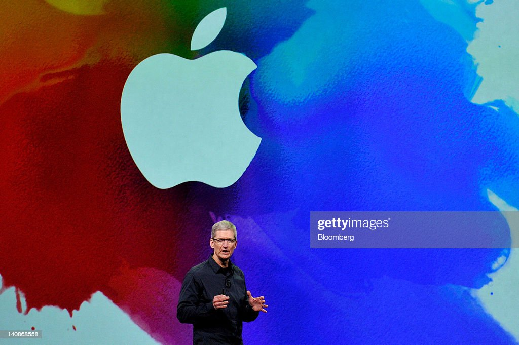 Tim Cook, chief executive officer of Apple Inc., speaks during an event in San Francisco, California, U.S., on Wednesday, March 7, 2012. Apple Inc. introduced a new version of the iPad, beefing up its two-year-old mobile computer with a sharper screen to widen its lead over Amazon.com Inc., Microsoft Corp. and Google Inc. in the tablet market. Photographer: David Paul Morris/Bloomberg via Getty Images