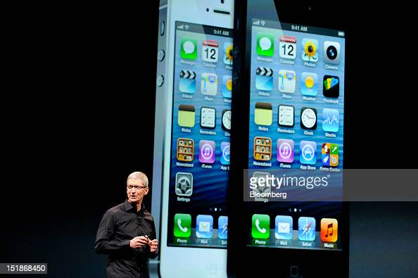 Tim Cook chief executive officer of Apple Inc speaks during an event in San Francisco California US on Wednesday Sept 12 2012 Apple Inc unveiled the...