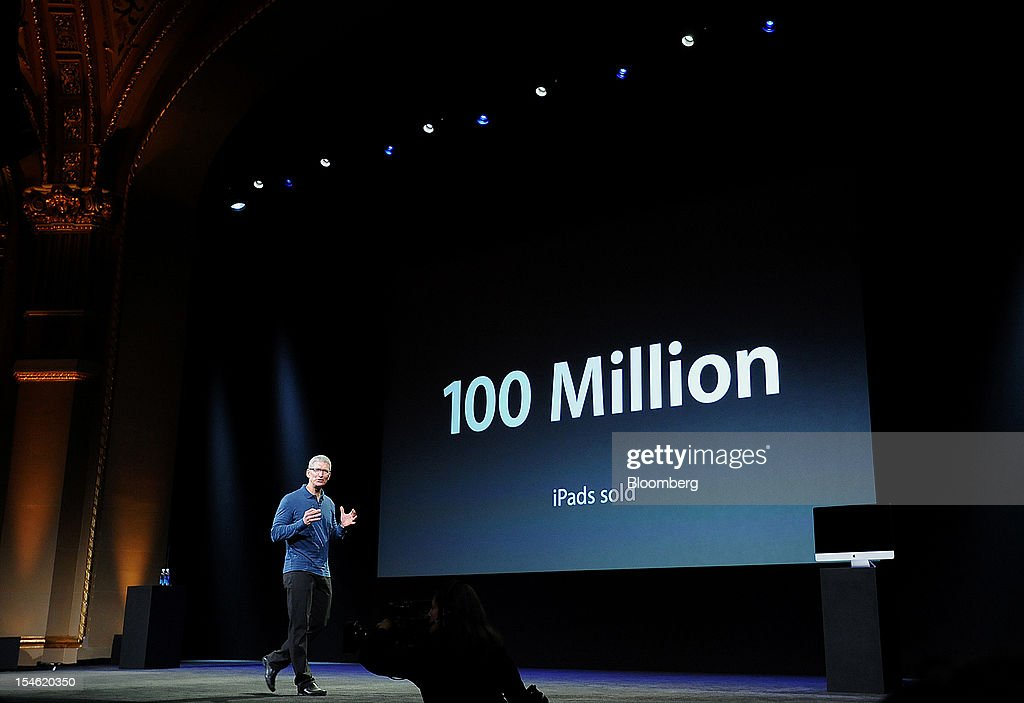Tim Cook, chief executive officer of Apple Inc., speaks during an event in San Jose, California, U.S., on Tuesday, Oct. 23, 2012. Apple Inc. introduced a smaller version of the iPad designed to keep customers from buying low-cost tablets from competitors Microsoft Corp., Amazon.com Inc. and Google Inc. Photographer: Noah Berger/Bloomberg via Getty Images