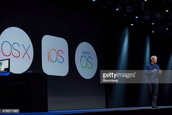 Tim Cook chief executive officer of Apple Inc speaks during the Apple World Wide Developers Conference in San Francisco California US on Monday June...