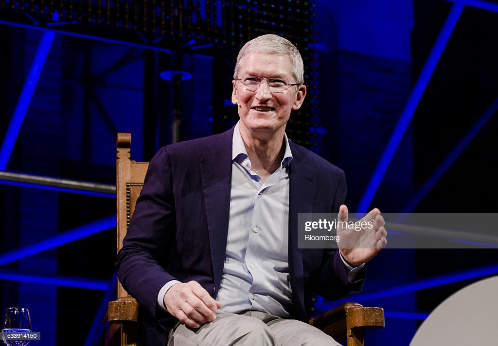 <a gi-track='captionPersonalityLinkClicked' href=/galleries/search?phrase=Tim+Cook+-+Business+Executive&family=editorial&specificpeople=8084206 ng-click='$event.stopPropagation()'>Tim Cook</a>, chief executive officer of Apple Inc., speaks during the opening of 'Startup Fest', a five-day conference to showcase Dutch innovation, in Amsterdam, Netherlands, on Tuesday, May 24, 2016. The Digital City Index for 2015 ranked Amsterdam Europe's second-best city, behind London, for tech startups. Photographer: Marlene Awaad/Bloomberg via Getty Images