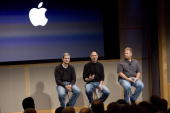 Tim Cook Chief Operating Officer Apple CEO Steve Jobs and Phil Schiller EVP Product Marketing answers questions after Jobs introduced new versions of...